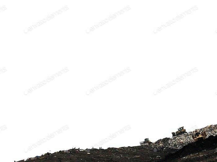 Bulldozers moving trash at the landfill