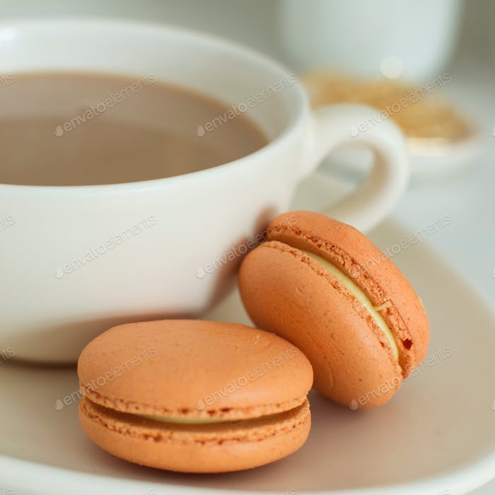 Macarons on a teacup
