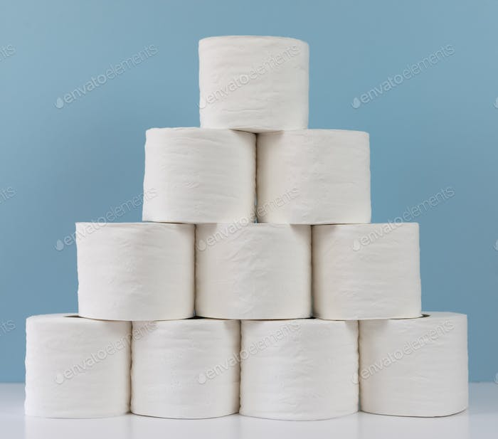 Stack of rolls of toilet paper