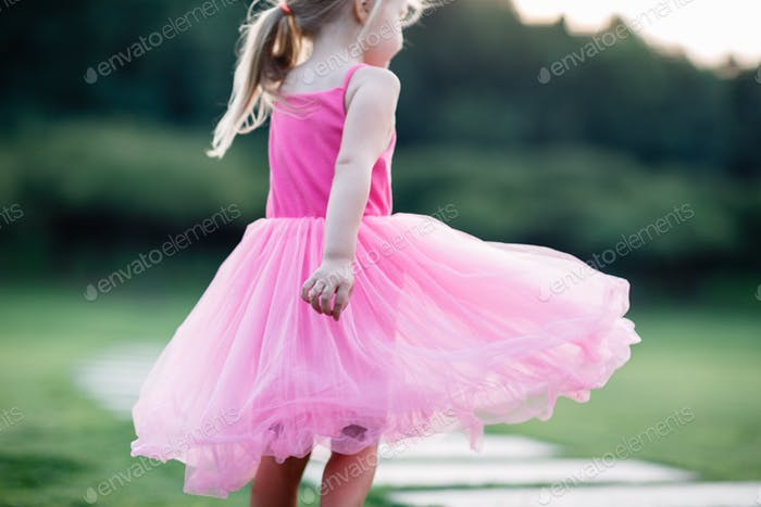 ⭐️⭐️⭐️ Nominated ⭐️⭐️⭐️    Little girl in pink tutu dress walking in the park on sunset