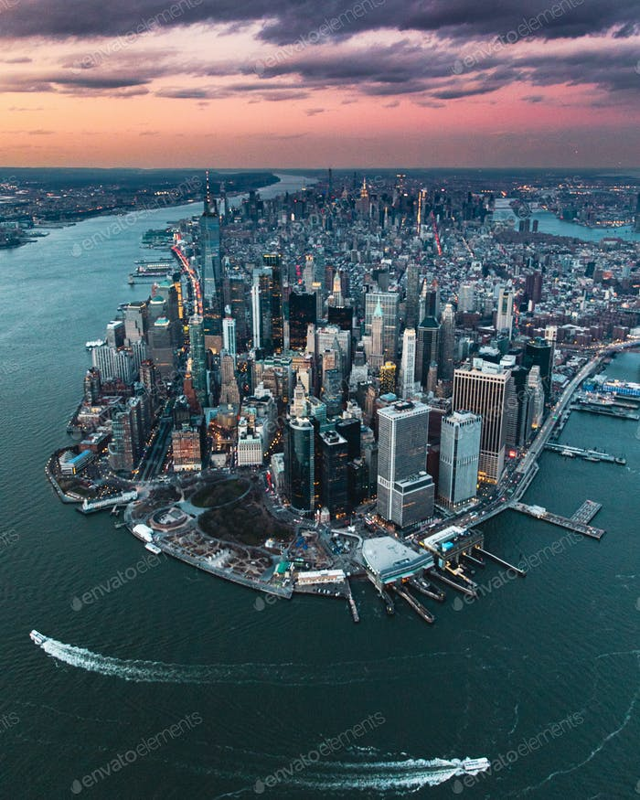 A view of New York City Manhattan from a helicopter ride at sunset