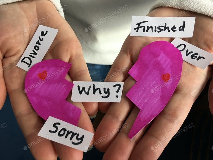 Broken Heart, divorce, finished, over, why? words in woman's hands. Creative concept.