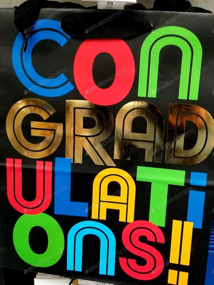 GRADUIERUNG! Mit Grad Ulati Ons! Herzlichen Glückwunsch Graduate Geschenkbeutel.