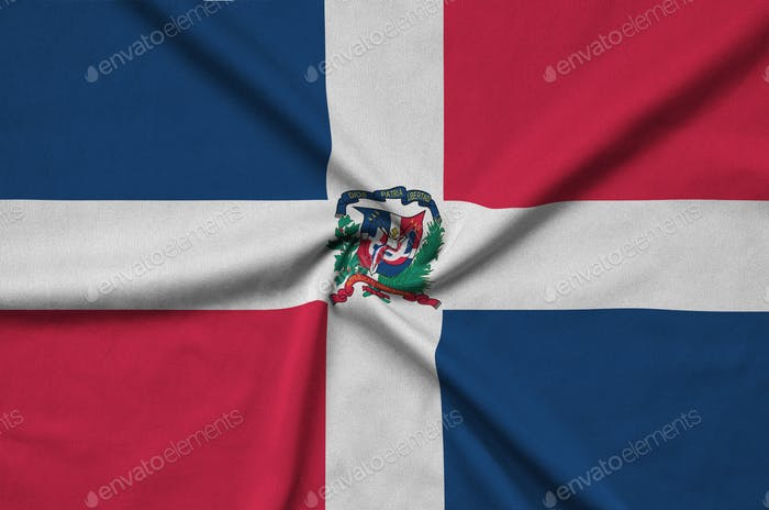 Bandera de República Dominicana está representada en un tejido de tela deportiva con muchos pliegues