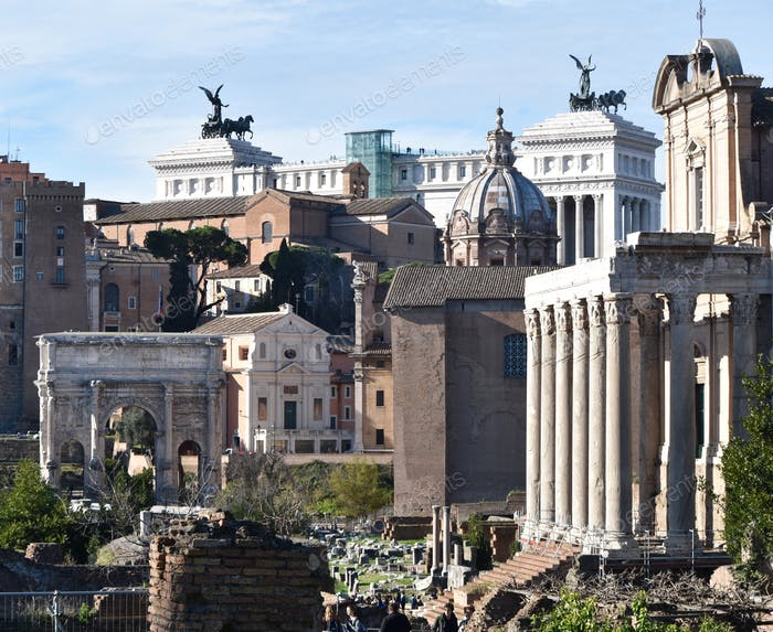 Old and new mixed in Ancient Rome - an ancient cityscape- this is authentic Rome