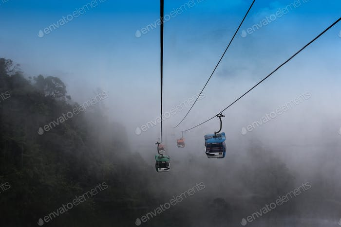 The cable car is used for transportation between mountains that cars cannot access.