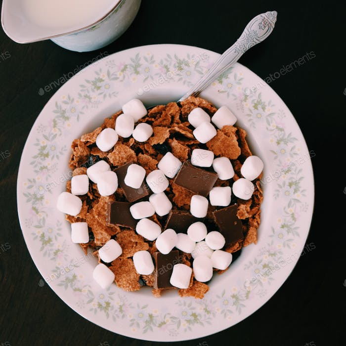 Raisin Bran + Marshmallows & Chocolate, let's call it s'mores ❤️