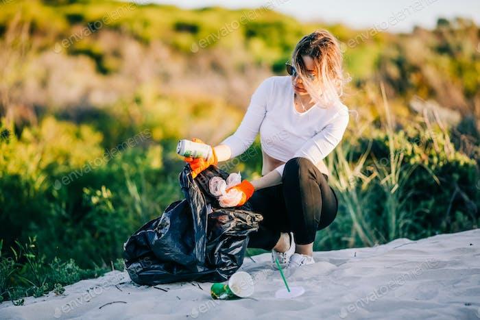 Picking up trash