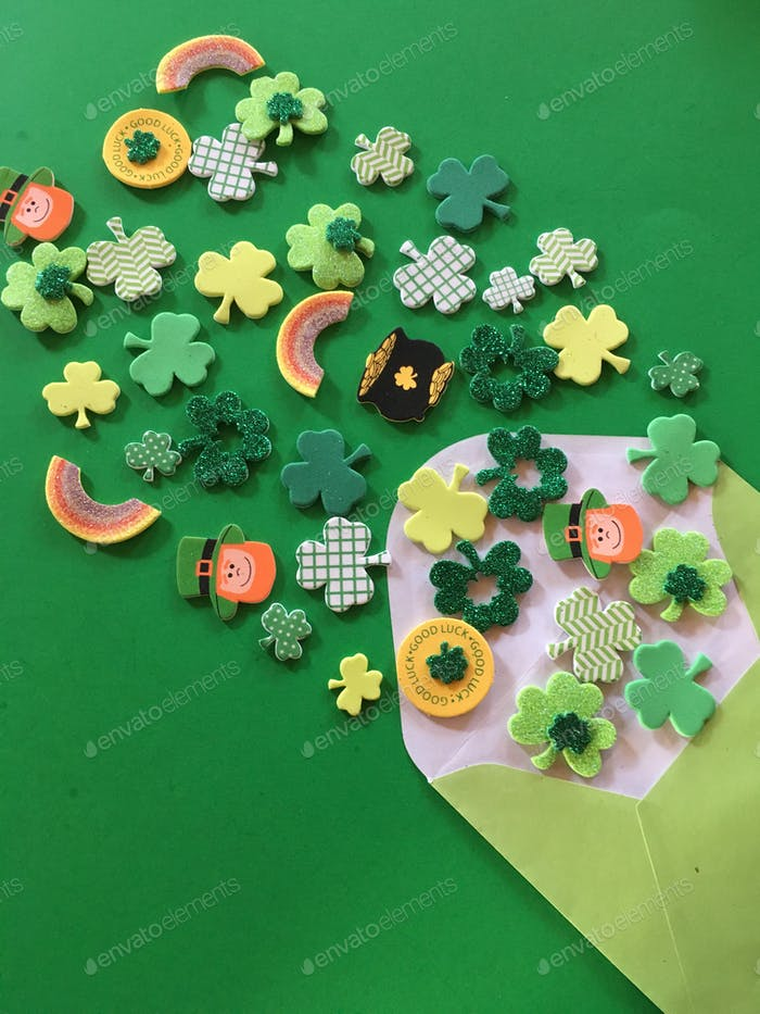 St. Patrick's Day, shamrocks, pot of gold,clovers wishing you luck