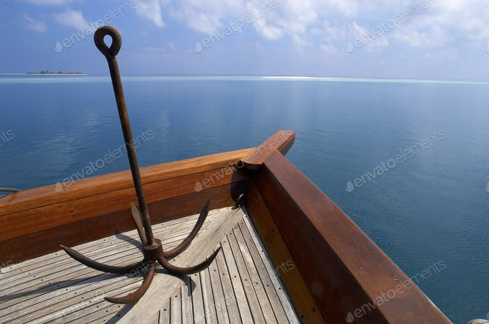 Anchor on the bow of a boat in South Ari Atoll in the Maldives in the Indian Ocean