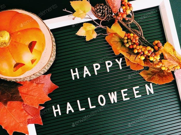 """Happy Halloween"" on message board"