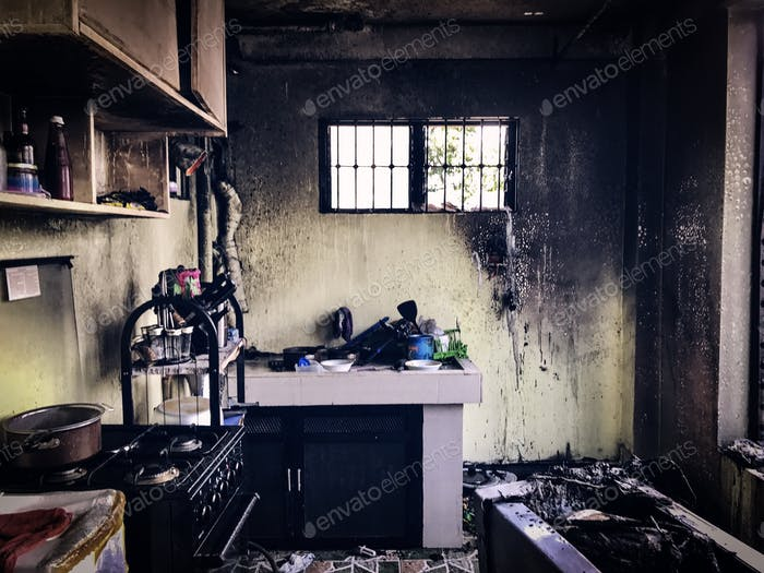 Abandoned kitchen; burnt by ire