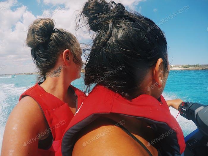 Girls on a jet ski