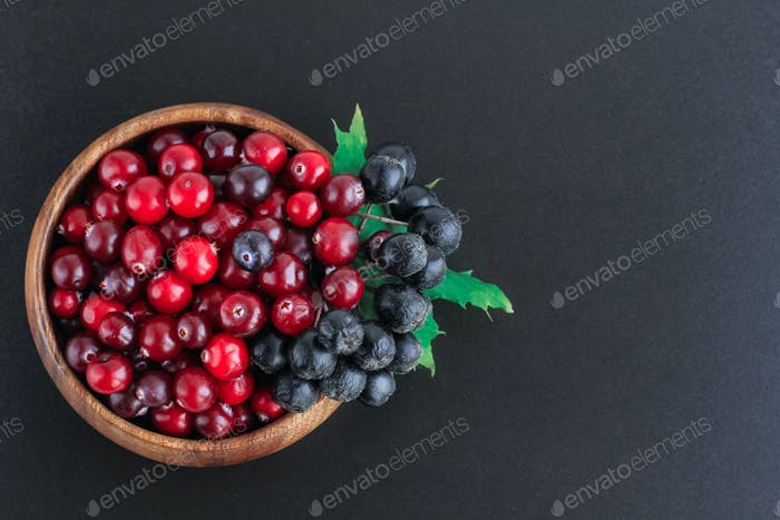 Cranberries and chokeberry in wooden bowl on black background. Nature, autumn, crop, food, berry
