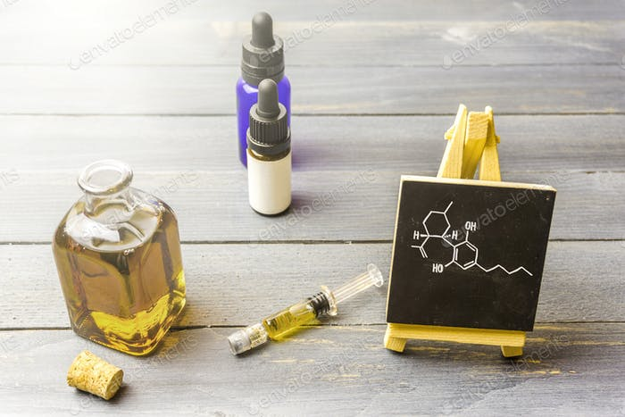 CBD cannabis products with CBD chemical structure