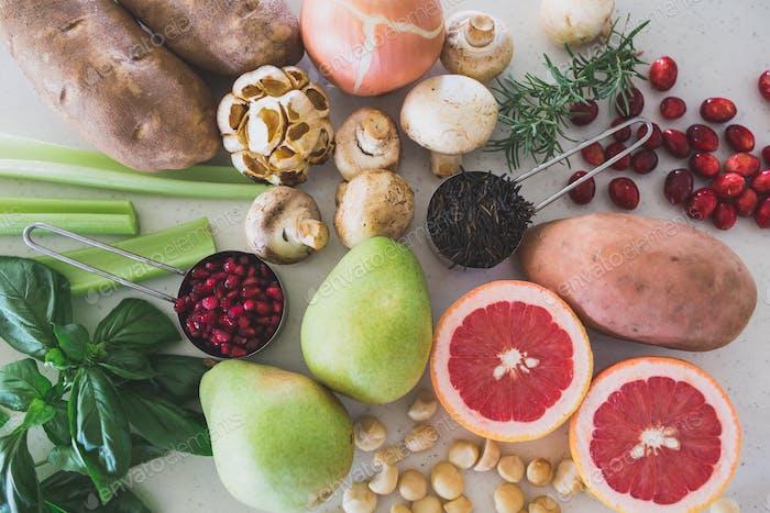 Legen Sie flach Danksagung Lebensmittelzutaten