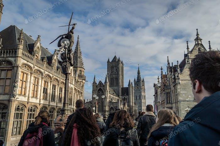 People on walking tour in Gent, Belgium