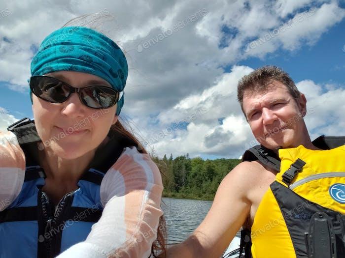 Active seniors kayaking.  ☀️