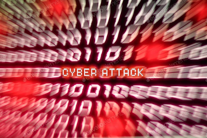 Cyber Attack Computer binary number stream blurred. Concept for hacker cyber attack danger