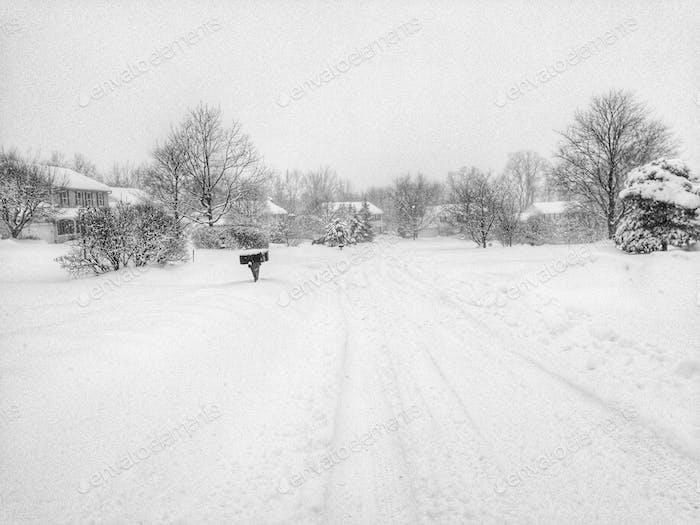 Snowy street in winter