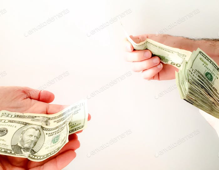 Paying money hands only white background