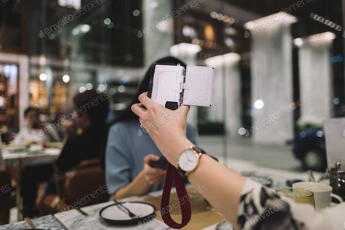 Taking selfie with digital camera