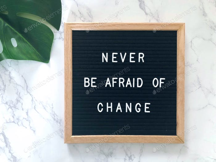 Inspirational quote: Never be afraid of change