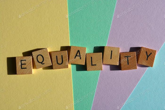 Igualdad, palabra en letras del alfabeto de madera 3D aisladas en el fondo