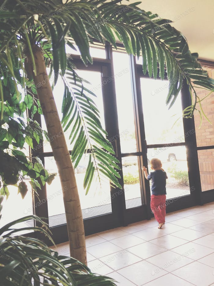 Boy looking out a glass door