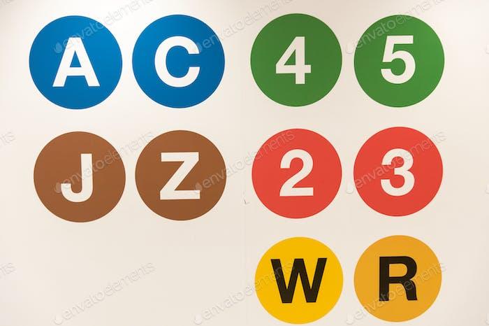 Metro transit symbols New York City.
