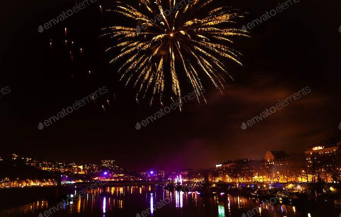 Fireworks celebration Independence Day in Lyon