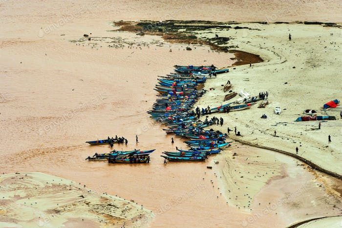A Fishing Village in Somalia Getting Ready to Set Sail for the Day