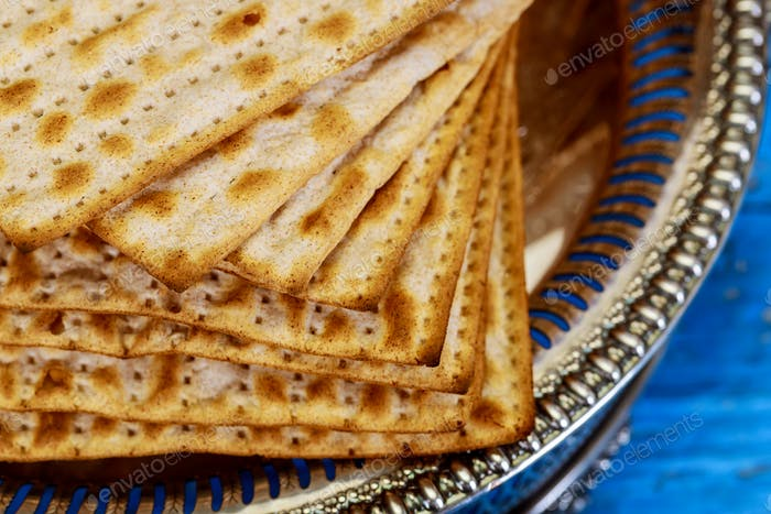 Matzo on wooden table jewish matza on Passover unleavened bread