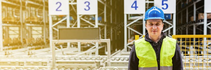Horizontal long banner for web design with copy space of employee on factory or warehouse billboard