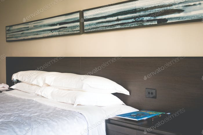 bed in hotel room, travel, accommodation, 5 star hotel