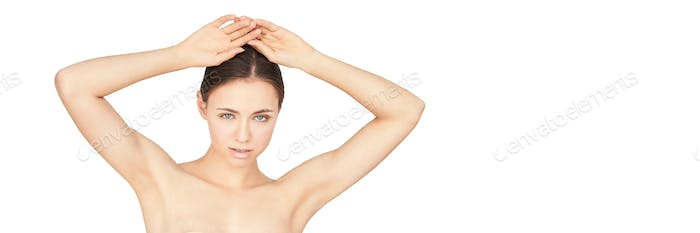 Girl armpit. Clean skin. Hands up. Deodorant skincare. Without hair under arms