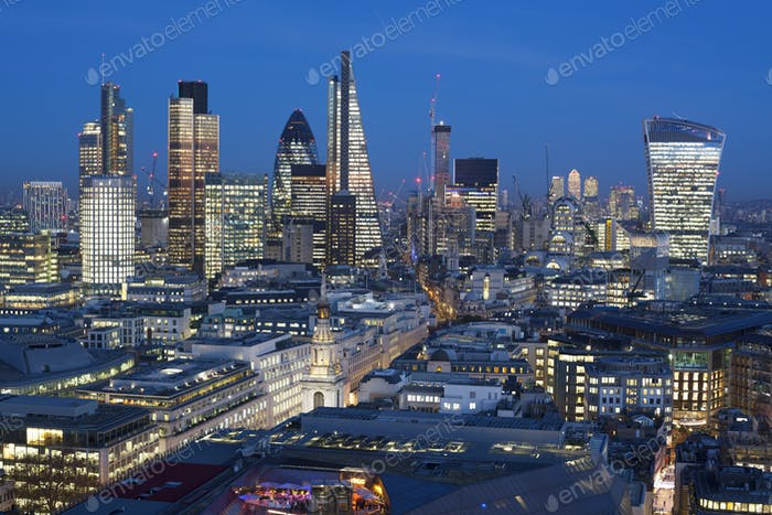 Financial district of London at night, England,