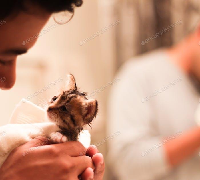 Rescate gatitos primer baño