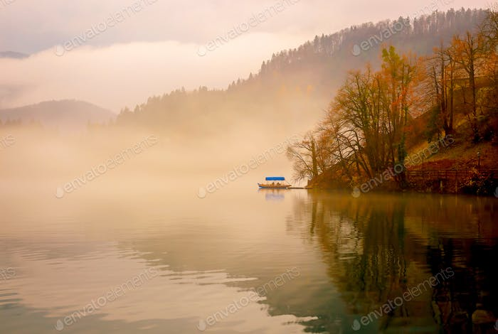 Mysterious foggy lake