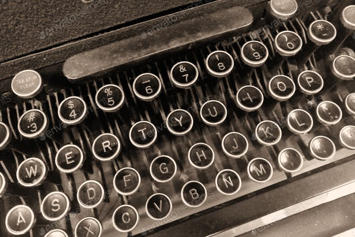 Closeup of keys on classic vintage typewriter, retro, writer, author, journalist, communication