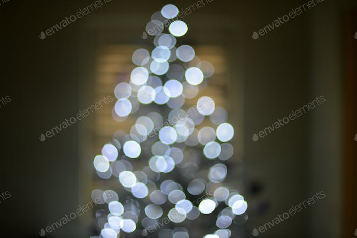 out of focus lights on Christmas tree