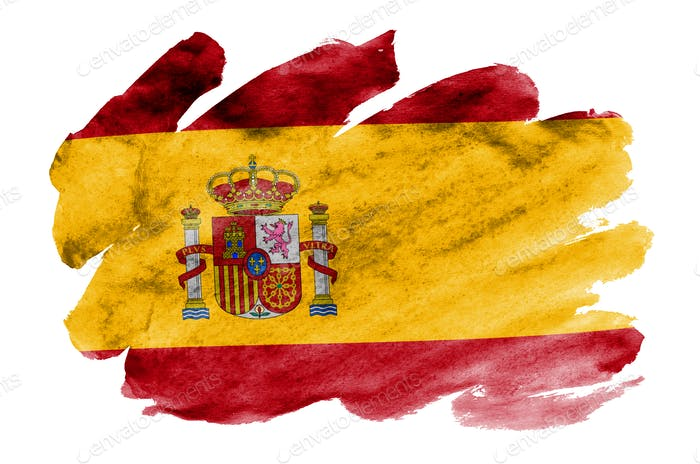 Spain flag  is depicted in liquid watercolor style isolated on white background