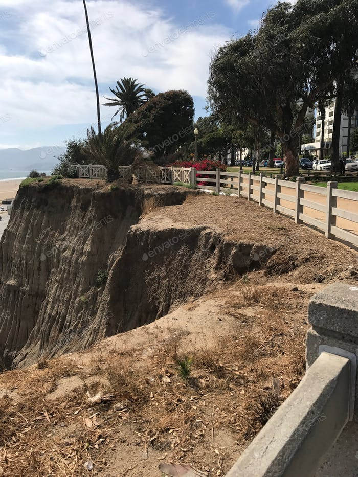 Erosion of the cliffs along the coast of california is cutting into a popular walking park in Santa