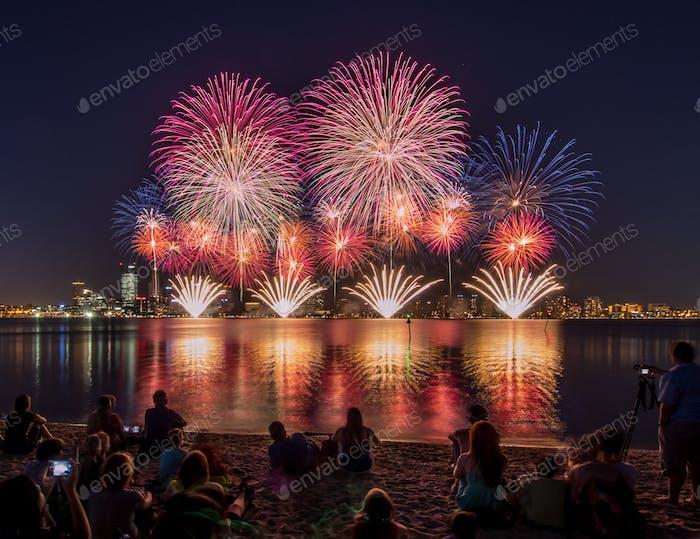 Fireworks over the city skyline of Perth, Western Australia