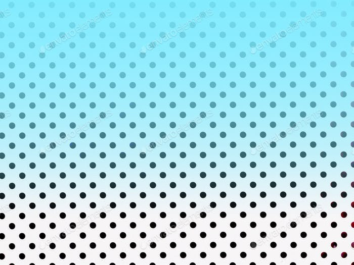 White-black polka dot background with ombré blue cloud