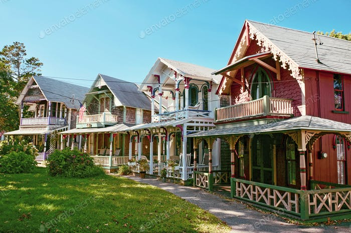 Colorful gingerbread houses on Martha's Vineyard.