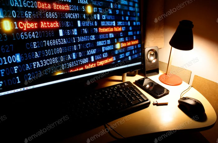 Cyber crime, cyber attack, hacking, computer desktop