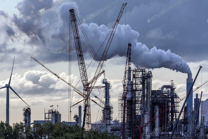 An industrial skyline at dusk - Rotterdam - Netherlands