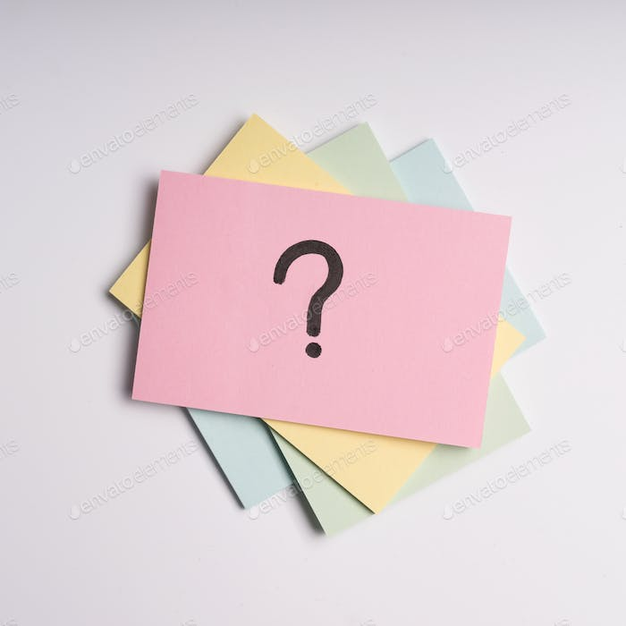 Question Mark On Adhesive Note