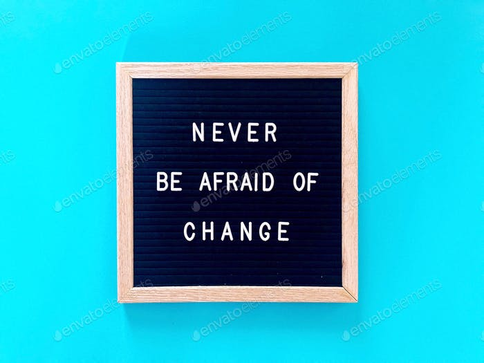 Great quote: Never be afraid of change